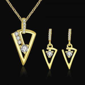 18k Gold Plated Cubic Zirconia Diamond Earring Necklace Set