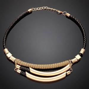 Black Gold Trendy Bib Statement Necklace