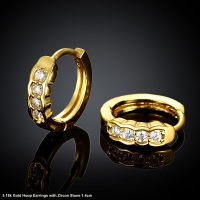 18k Gold and 4 Zircon Stones Small Hoop Earrings 1.4cm