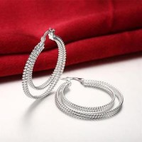 925 Silver Plated Hoop Earrings Large Double Hooped Earrings 4cm