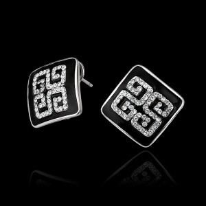18k Gold Crystal and Rhinestone Square Stud Earrings