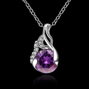 Ladies Elegant Gemstone Platinum Necklace