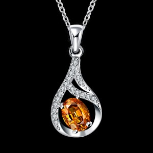 Ladies Silver Yellow Zircon Pendant Necklace