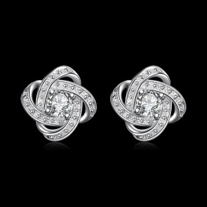 Ladies 925 Silver Plated Flower Zirconia Stud Drop Earrings