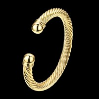 18k Gold Plated Twist Torque Bangle