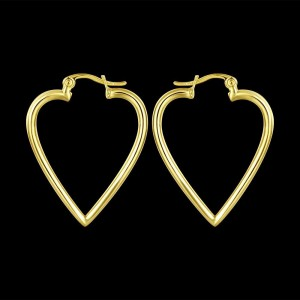 18k Gold Plated Heart Hoop Earrings 3.5cm