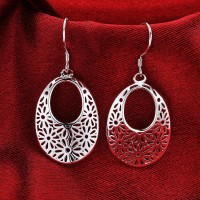 Ladies 925 Silver Plated Pattern Drop Dangle Earrings 4.2 cm