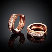 Rose Gold Plated 7 Zircon 1.5cm Hoop Earrings