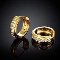 Yellow Gold Plated 7 Zircon 1.5cm Hoop Earrings